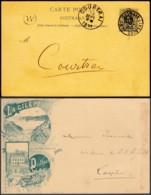 """Belgique - EP 5c Avec Repiquage Illustré Barrage De La Gileppe Boite Rural """"W"""" 24/09/1891 Vers Courtrai (RD160)DC5673 - Postwaardestukken"""