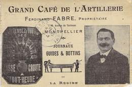 """CPA / CARTE DE VISITE FRANCE 34 """"Montpellier, Grand Café De L'Artillerie, Avenue De Toulouse, F.FABRE"""" - Montpellier"""
