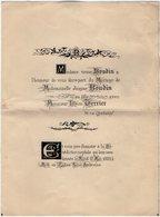 VP16.750 - PARIS 1885 - Faire - Part De Mariage De Melle Jeanne BOUDIN Avec Mr Léon TERRIER - Mariage