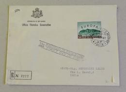 FDC Raccomandata L.500 Europa, Ufficio Filatelico Governativo Per Imola - 20/10/1961 - FDC