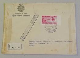 FDC Raccomandata L.1000 Posta Aerea, Ufficio Filatelico Governativo Per Udine - 06/07/1961 - FDC
