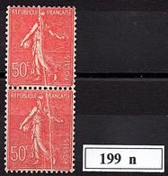 VARIETE  -  1926  -  Semeuse Lignée N° 199 N ** ( Paire ) - Curiosities: 1921-30 Mint/hinged