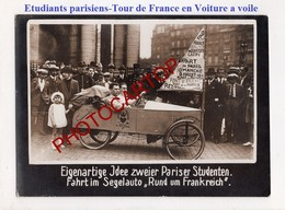 ETUDIANTS Parisiens-TOUR DE FRANCE En VOITURE A VOILE-PARIS-Carton Allemand Epais De Presse- - Voitures De Tourisme