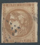 Lot N°52481  Variété/n°43Ac Bistre Foncé, Oblit, Tache Blanche S De POSTES - 1870 Uitgave Van Bordeaux