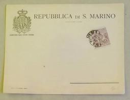 Busta Segreteria Degli Affari Interni, Affrancata Con C.2 Viola/bruno - Anno 1903 - Saint-Marin