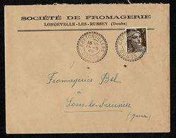 Lettre En-tête Pour Fromagerie BEL  Gandon 3F Brun Tàd Double Cercle Pointillé BRETONVILLIERS DOUBS 14-5-46 TB 2 Scan - Marcophilie (Lettres)