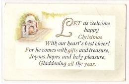 P 517,  OLD  FANTASY POSTCARD  , GREETINGS , PENSEE , Let Us Welcome Happy - Felicitaciones (Fiestas)