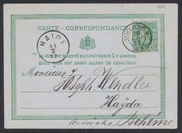 """EP Au Type 10ctm Vert (n°30) Obl Double Cercle """"Ostende"""" (Dcb, 1877) Vers Hayda (Autriche Bohème) - Entiers Postaux"""