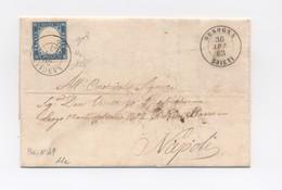 3284 - Regno - Anno 1863 15 C Azzurro Grigio (Sass. 11e) Usato Su Lettera (Valore Oltre Euro 2.000,00) - 1861-78 Vittorio Emanuele II