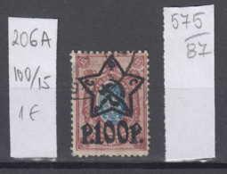87K575 / 1922 - Michel Nr. 206 A - Overprint 100 R. / 15 K. - Freimarken , Used ( O ) Russia Russie - 1917-1923 Republic & Soviet Republic