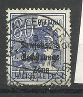 """Allierte Besetzungen SBZ 196, 80 Pfg.-Briefmarke A.Satz D. 2.Kontrollratsausg.m. Aufdruck."""" Gestemp. Mi:4,00 - Zone Soviétique"""