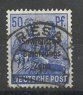 """Allierte Besetzungen SBZ 194, 50 Pfg.-Briefmarke A.Satz D. 2.Kontrollratsausg.m. Aufdruck."""" Gestemp. Mi:2,00 - Zone Soviétique"""