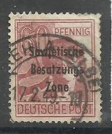 """Allierte Besetzungen SBZ A196, 60 Pfg.-Briefmarke A.Satz D. 2.Kontrollratsausg.m. Aufdruck."""" Gestemp. Mi:2,00 - Zone Soviétique"""