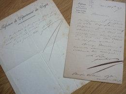 Nicolas ROUGIER De La BERGERIE (1784-1857) Prefet VOSGES (Epinal) , Lot Et Garonne - 2 X AUTOGRAPHE - Handtekening
