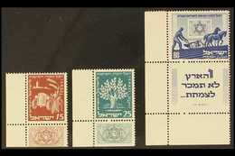 1951 Jewish National Fund Set In Full Tabbed Corners, SG 58/60, Very Fine Mint. (3 Stamps) For More Images, Please Visit - Israel
