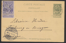 "EP Au Type 5ctm Vert + N°71 Obl Simple Cercle ""Bruges"" Vers Fribourg En Brisgau (Allemagne) / Exposition - Postwaardestukken"