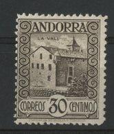 ANDORRE Espagnol N° 21A Cote 170 € 30ct Sépia. Neuf * (MH). Au Verso N° A000.059 - Nuovi