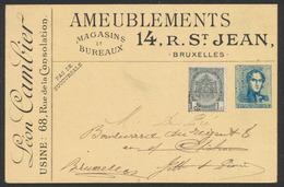 Imprimé Publicitaire Privé Type épaulette N°2 (Ameubleuments R. St Jean, Bruxelles) + N°53 Préo Peu Lisible Vers BXL. - 1893-1900 Schmaler Bart