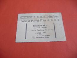 Carte De Visite - Brillants Perles Et Pierre Fines Bijouterie Lapidaire 24 Rue Du Faubourg Montmartre Paris 9 - Cartes De Visite