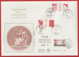 Bicentenaire De La Révolution Française 1792 / 1992 Egalité Liberté Unité - Documents De La Poste
