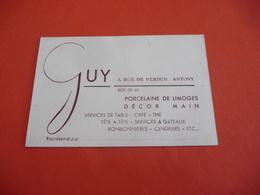 Carte De Visite - Guy 3 Rue De Verdun Antony Services De Table Café Thé Porcelaine De Limoges Décor Main - Cartes De Visite