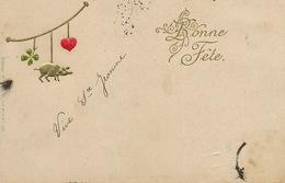 Art Card Embossed Cochon Trefle Coeur Porte Bonheur  Edit Erika  Undivided Back . Gaufrée . Sainte Jeanne - Cerdos