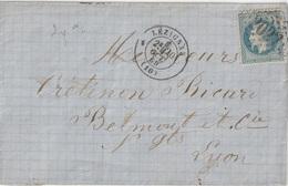Lettre France 1869 Napoléon Lauré GC 2027 Lézignan - Postmark Collection (Covers)