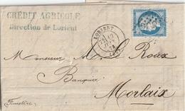 Lettre France 1873 Cérès GC Lorient - 1849-1876: Période Classique