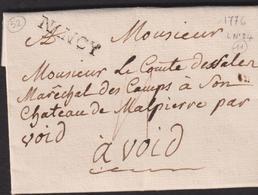 LETTRE DE LA LORRAINE  AVEC GRIFFE DE NANCY LAC 1776 TB - Storia Postale