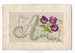 """Carte  Brodée  -  Petites  Fleurs   -  """"  1 Er  Avril    """" - Cartoline"""