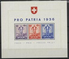 SUISSE BF N° 2 Cote 110 €. Neuf ** (MNH). Pro Patria 1936. TB - Blocs & Feuillets