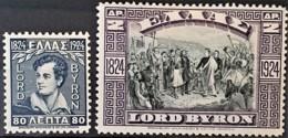 GREECE 1924 - MLH - Sc# 316, 317 - LORD BYRON - Grecia