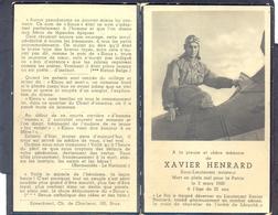 XAVIER HENRARD - Sous-Lieutenant Aviateur - Mort En Plein Ciel Pour La Patrie Le 2 Mars 1940 - Images Religieuses