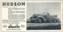 """Werbung  """"Hudson, Schlotterbeck Automobile, Zürich/Basel""""        Ca. 1940 - Publicidad"""