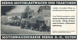 "Werbung  ""Berna Motorwagenfabrik, Olten""        Ca. 1940 - Reclame"