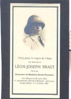 Léon-Joseph Braet - Né à Bruges 1902 Et Décédé à Bakama (Katanga) 1926 - Images Religieuses