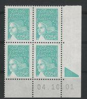 N° 3445 ** (MNH). Coin Daté Du 04/10/01. TB - Ecken (Datum)
