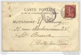 """Cachet Perlé B2 """"Le Clion Loire Infre 1905"""" Frappe Superbe Semeuse (variété Mois Absent) CP Nantes Bel Air - Manual Postmarks"""