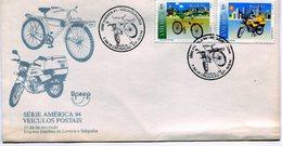 BRASIL 1994 FDC SERIE AMERICA 94 VEHICULOS POSTAIS BIKE MOTORCYCLE - NTVG. - Brazilië