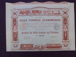 FRANCE - PARIS 1894 - CIE FRANCAISE DES VOIES FERREES ECONOMIQUES - ACTION DE 500 FRS - BELLE DECO - Actions & Titres