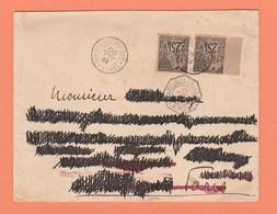 2 N° 54 25c NOIR / ROSE SUR LETTRE DE TANANARIVE MADAGASCAR DE 1890 - RESIDENCE GENERALE DE FRANCE *MADAGASCAR* - Madagascar (1889-1960)