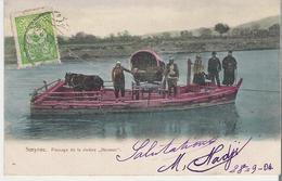 TURQUIE - SMYRNE. CPA Voyagée En 1904 Passage De La Rivière Hermus Le Cheval Et La Carriole Sur L'embarcation - Turkey