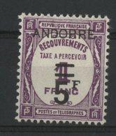 ANDORRE TAXE N° 15 Cote 135 €. Neuf * (MH). TB - Segnatasse