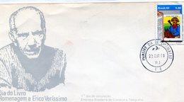 BRASIL 1980 FDC DIA DO LIVRO HOMENAGEM A ERICO VERISSIMO - NTVG. - Gebruikt
