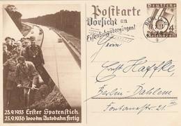 """Deutsches Reich / 1936 / Postkarte Mi. P 263 Masch.-Stempel Berlin """"Vorsicht An Eisenbahnuebergaengen"""" (5507) - Germany"""