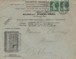 PAIRE SEMEUSE 5C SUR ENVELOPPE ILLUSTREE STE GENERALE COFFRES FICHET AUBUSSON CREUSE 1913 POUR AHUN - Marcophilie (Lettres)