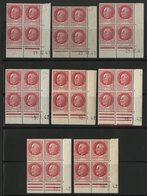 N° 516 **/* (MNH/MH) 8 Coins Datés Différents. Blocs De Quatre Du 1Fr 50 Rose Type Pétain. Voir Détail En Description - Esquina Con Fecha