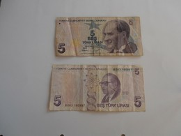 Turchia - Lotto Di 2 Banconote - Turkey