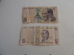 Turchia - Lotto Di 2 Banconote - Turquia