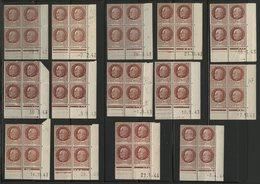 N° 517 **/* (MNH/MH) 14 Coins Datés Différents. Blocs De Quatre Du 1Fr 50 Brun Type Pétain. Voir Détail En Description - Esquina Con Fecha